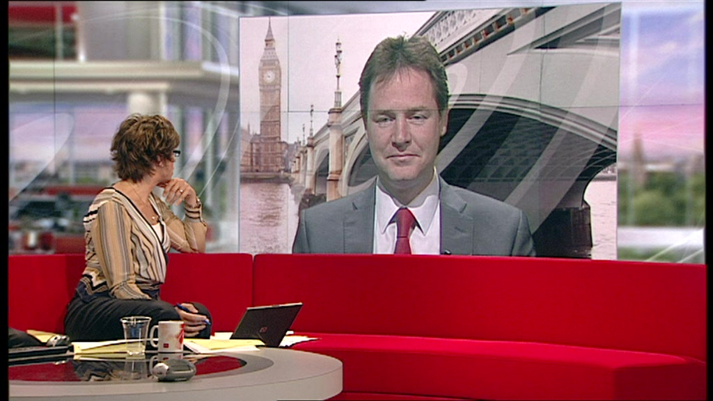 Nick Clegg on a big screen in the Breakfast set