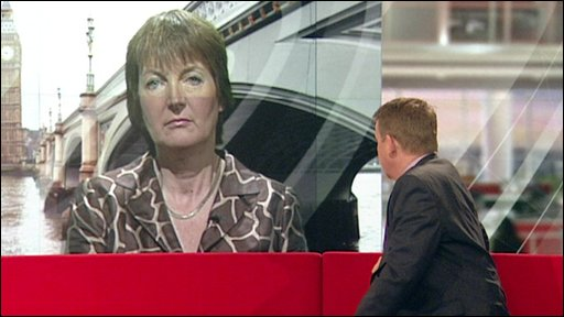 Harriet Harman on the big screen on the Breakfast set