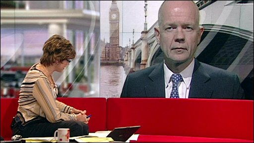 William Hague on the big screen on the Breakfast set