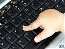 Infant using a computer