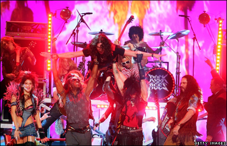 Constantine Maroulis and the cast of Rock of Ages