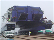 A Condor ferry being lifted out of the water