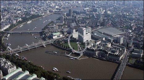 Aerial view of the River Thames