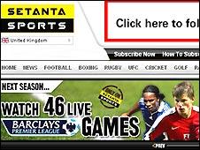 Setanta Sports UK site
