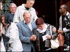 Relatives of passengers leave a church in Roissy-en-France, Paris, 6 June