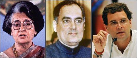 L-R Indira Gandhi, Rajiv Gandhi and Rahul Gandhi