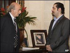 Walid Jumblatt, left, and Saad al-Hariri