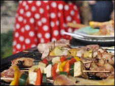 Food on a barbecue