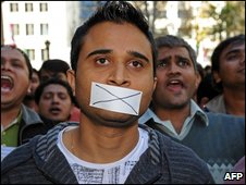 Indian students rally against racism in Sydney on June 7, 2009