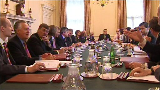 Cabinet members sitting round a table