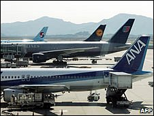 A row of planes docked at Incheon airport.