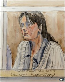 Court sketch of Veronique Courjault.