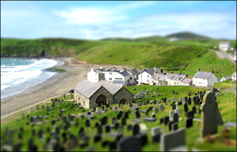 Paul James from Chepstow used the 'tiltshift' function on his camera to make Aberdaron, on the tip of the Llyn Peninsula, look like a model village.