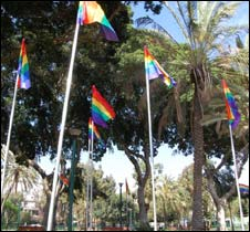 Meir Dizengoff with Gay Pride flags