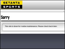Setanta website screengrab from 1230BST on 9/6