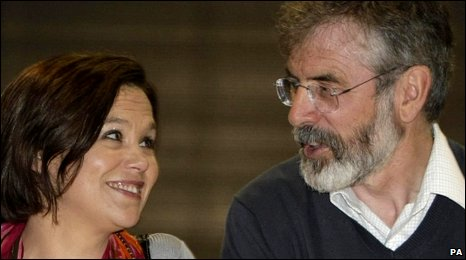 Mary-Lou McDonald and Gerry Adams at the European election count