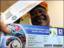 A fan with a Confederations Cup ticket
