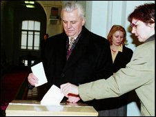 File photo of Leonid Kravchuk voting in elections in 1994
