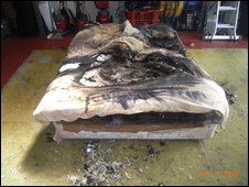 Mrs Ghiloni's bed after the fire