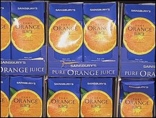Orange juice cartons