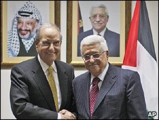 US Middle East envoy George Mitchell meets Palestinian Authroity President Mahmoud Abbas