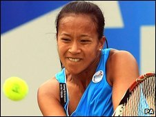 Anne Keothavong in action in Birmingham