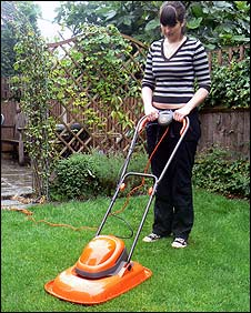 Flymo lawnmower in action