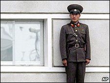 A North Korean soldier at the border village of Panmunjom, 9 June