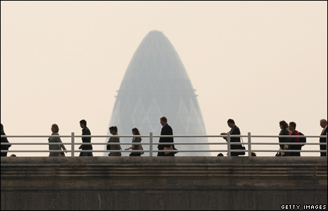 Commuters walking to work across Waterloo Bridge