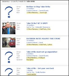 Facebook Tube strike search