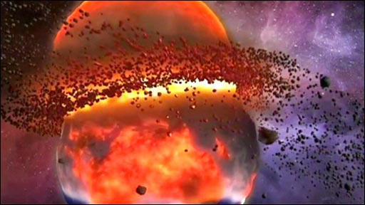 Artist's impression of planet colliding with Earth