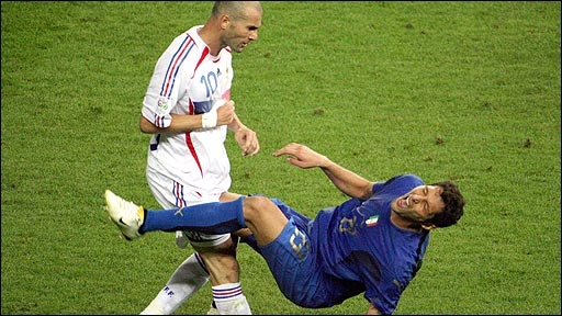 Zinedine Zidane of France head-butts Italy&amp;apos;s Marco Materazzi in the 2006 World Cup final