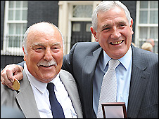 Former england players Jimmy Greaves (left) and Norman Hunter received belated winners' medals for their part in England's 1966 World Cup win