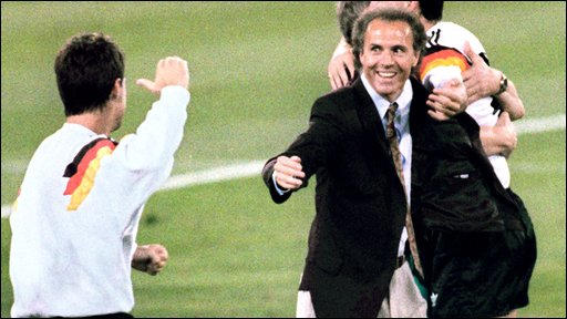 Beckenbauer celebrates winning 1990 World Cup