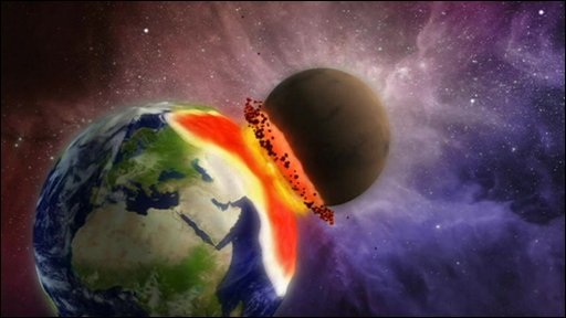 Graphic of Earth colliding with Mars