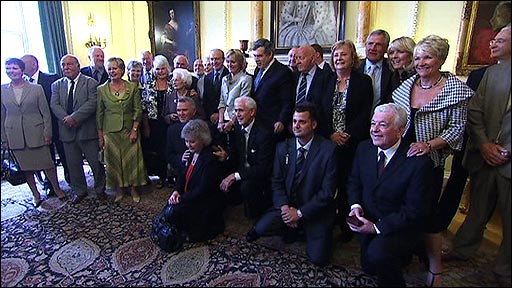 The 1966 England World Cup squad with Prime Minister Gordon Brown