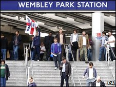 Football fans arriving at Wembley Park Tube station