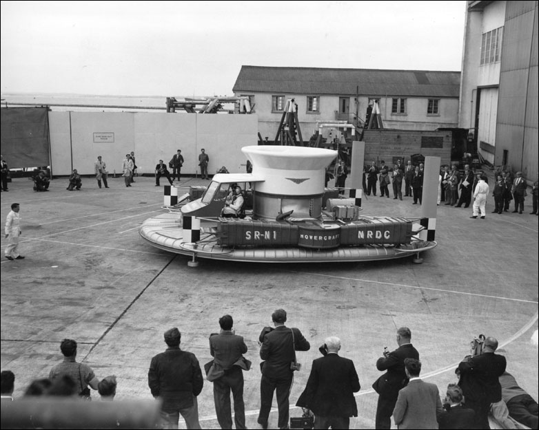 The Saunders Roe SRN-1 hovercraft on display at Cowes, Isle of Wight