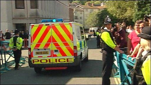 Police van leaves Plymouth Magistrates court