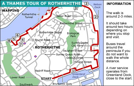 A map of the Thames Tour of Rotherhithe.