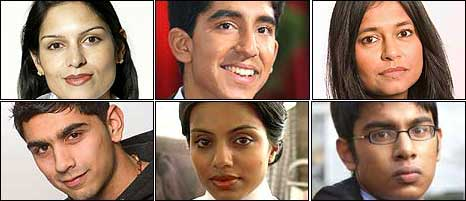 Former press adviser to William Hague Priti Patel, actor Dev Patel, actress Bharti Patel, actor Dharmesh Patel, actress Youkti Patel and actor Himesh Patel.