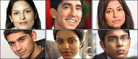 Former press adviser to William Hague Priti Patel, actor Dev Patel, actress Bharti Patel, actor Dharmesh Patel, actress Youkti Patel and actor Himesh Patel.