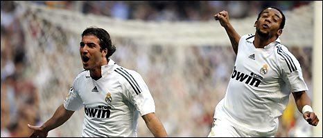 Real Madrid players Argentinian Gonzalo Higua�n (left) and Brazilian Marcelo celebrate a goal