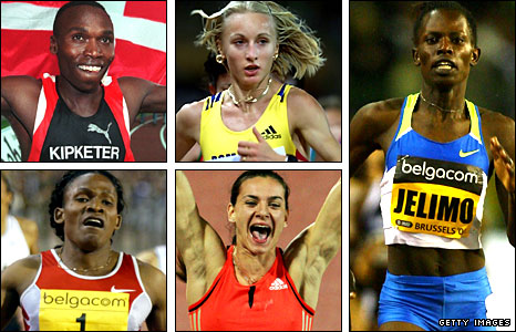(Small pics clockwise from top left) Kipketer, Szabo, Mutola and Isinbayeva won world gold and the Golden League in the same year, while Jelimo (right) added Olympic gold in 2008