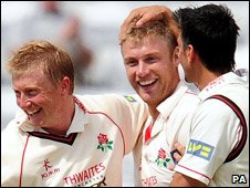 Andrew Flintoff celebrates