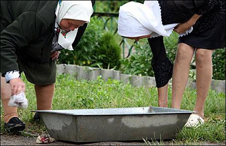Washing feet before church