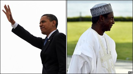 US President Barack Obama (left) and Nigerian President Umaru Yar'Adua (right)