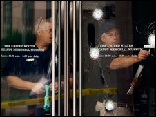 FBI agents examine a bullet-ridden door at the Holocaust Memorial Museum in Washington, DC