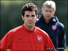 Cesc Fabregas with Arsenal boss Arsene Wenger in the background