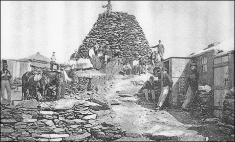 Snowdon summit scene in 1850 Photo: Snowdon Mountain Railway